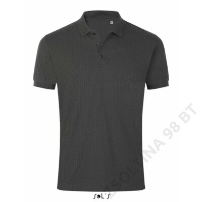 SO01706 BRANDY MEN POLKA-DOT POLO SHIRT, Dark Grey/White
