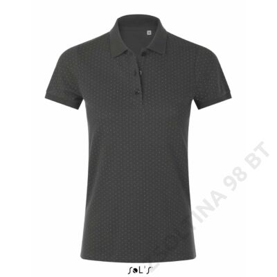 SO01707 BRANDY WOMEN POLKA-DOT POLO SHIRT, Dark Grey/White