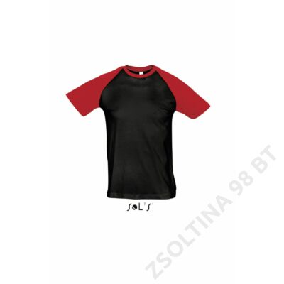 SO11190 FUNKY MEN'S 2-COLOUR RAGLAN SLEEVES T-SHIRT, Black/Red