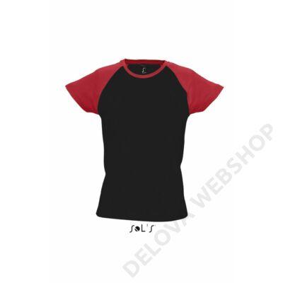 SO11195 MILKY WOMEN'S 2-COLOR RAGLAN SLEEVES T-SHIRT, Black/Red