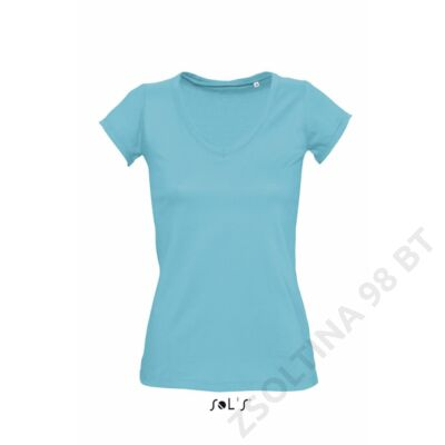 SO11387 MILD WOMEN'S V-NECK ROLLED AND RAW-CUT FINISHED T-SHIRT, Atoll Blue