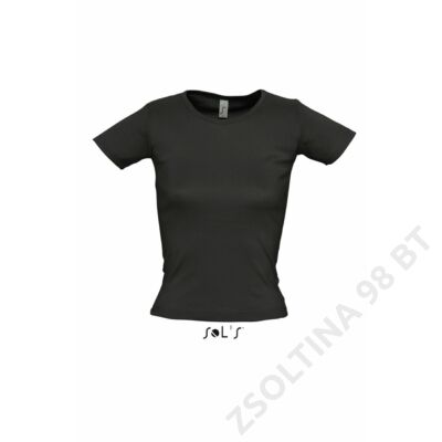 SO11830 LADY O WOMEN'S ROUND COLLAR T-SHIRT, Black