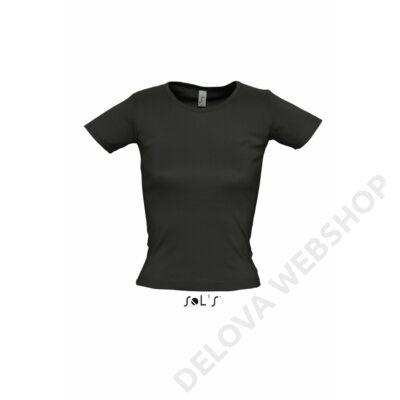 SO11830 LADY O WOMEN'S ROUND COLLAR T-SHIRT, Black