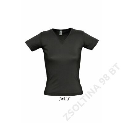 SO11835 LADY V WOMEN'S V-NECK COLLAR T-SHIRT, Black