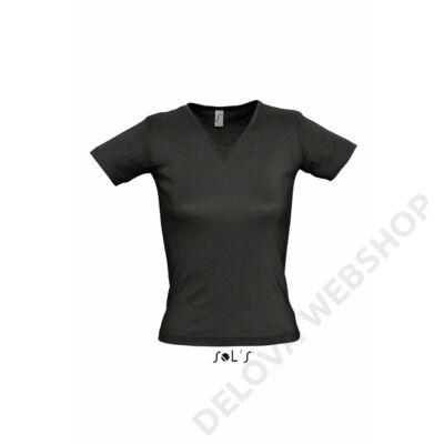 SO11835 LADY V WOMEN'S V-NECK COLLAR T-SHIRT, Black