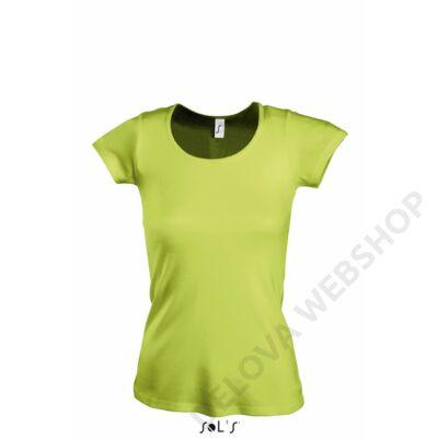 SO11865 MOODY WOMEN'S ROUND COLLAR T-SHIRT, Apple Green